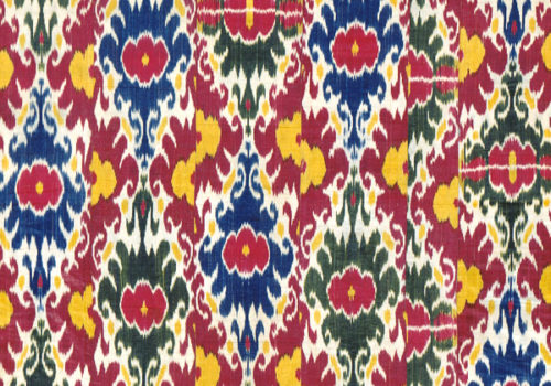 Ikat Dyed Silk Warp Undyed Cotton Weft From Uzbekistan Smithsonian Collections